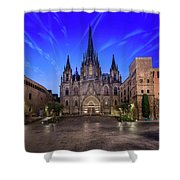 Angels Flying In Front Of The Cathedral Of The Holy Cross And Sa Shower Curtain