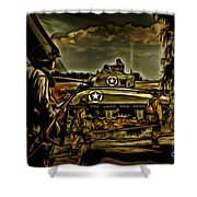 Angels On The Battlefield - Oil Shower Curtain