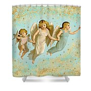 Angels Three Children Vintage Shower Curtain