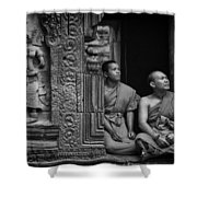 Angkok Wat Buddhist Monks Gather Shower Curtain