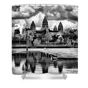 Angkor Wat Black Oil Paint  Shower Curtain