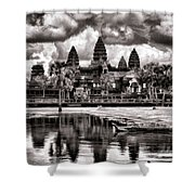 Angkor Wat Sepia Paint  Shower Curtain