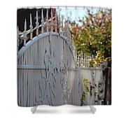 Angled Closeup Of White Washed Iron Gate To Garden Shower Curtain
