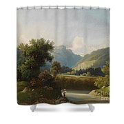 Angler By A Stream Shower Curtain