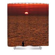 Angler In Summer Sunset Shower Curtain