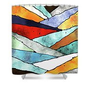 Angles Of Textured Colors Shower Curtain