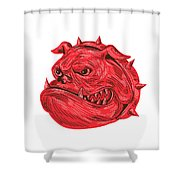 Angry Bulldog Head Drawing Shower Curtain