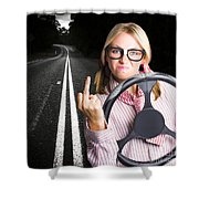 Angry Business Woman Expressing Road Rage Shower Curtain