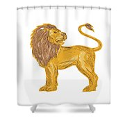 Angry Lion Big Cat Roaring Drawing Shower Curtain