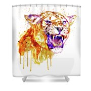 Angry Lioness Shower Curtain