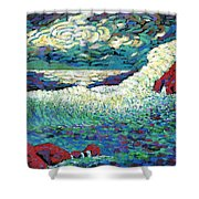 Angry Seas Shower Curtain