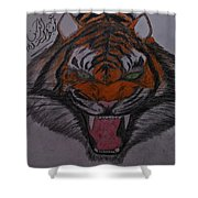 Angry Tiger Shower Curtain