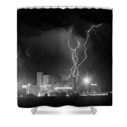 Anheuser-busch On Strikes Black And White Shower Curtain