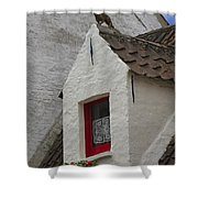 Animal Statue On The Dormer Roof Of A House In Bruges Belgium Shower Curtain