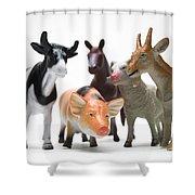 Animals Figurines Shower Curtain