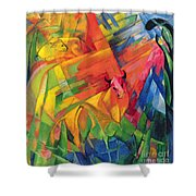 Animals In A Landscape Shower Curtain by Franz Marc