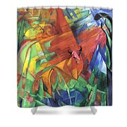 Animals In Landscape Red And Yellow Bulls Resting Shower Curtain