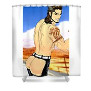 Anime Muscle Guys Boys Yaoi Male Characters Gay Art Gladiolus Shower Curtain