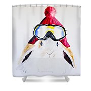 Anitas Schneehas Karminrot Shower Curtain