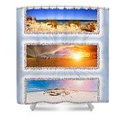 Anna Maria Island Beach Collage Shower Curtain