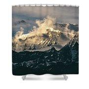 Annapurna Mountain Range In Evening Sunlight Shower Curtain