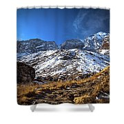 Annapurna Trail With Snow Mountain Background In Nepal Shower Curtain