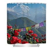 Annapurnas And Prayer Flags Shower Curtain