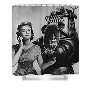 Anne Francis Movie Photo Forbidden Planet With Robby The Robot Shower Curtain