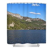 Annecy Lake Panorama Shower Curtain