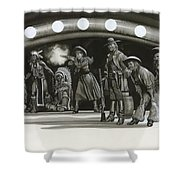 Annie Oakley Demonstrating Her Shooting Prowess Shower Curtain