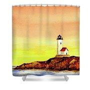 Annisquam Harbor Lighthouse - Summer Scene Shower Curtain
