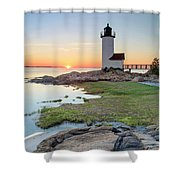Annisquam Lighthouse Sunset Vertical Shower Curtain