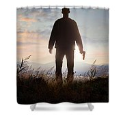 Anonymous Man In Silhouette Holding A Gun Shower Curtain