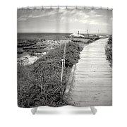 Another Asilomar Beach Boardwalk Black And White Shower Curtain