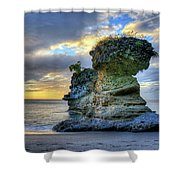 Anse Mamin Rock Formation At Sunset Saint Lucia Caribbean Sunset Shower Curtain