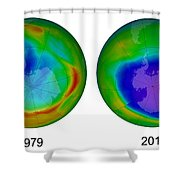 Antarctic Ozone Hole, 1979 And 2015 Shower Curtain