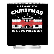 Anti Donald Trump Christmas Edition Vote For Dems Dark Shower Curtain