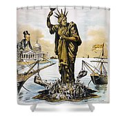 Anti-immigration Cartoon Shower Curtain