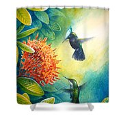 Antillean Crested Hummingbirds And Ixora Shower Curtain