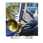 Antique Brass Car Horn Shower Curtain