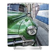Antique Car And Mural 2 Shower Curtain