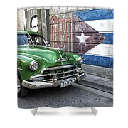 Antique Car And Mural Shower Curtain