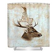 Antique Deer Shower Curtain