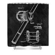 Antique Fishing Reel Patent Shower Curtain
