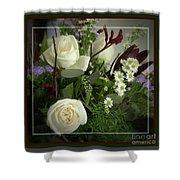 Antique Floral Arrangement Framed Shower Curtain