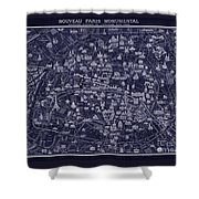 Antique French Pocket Map Of Paris Blueprint Style Shower Curtain