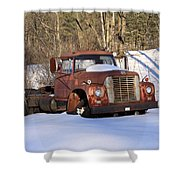 Antique Grungy Truck In Snow Shower Curtain