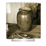 Antique Laundry And Clothes Pins In Sepia Photograph Shower Curtain