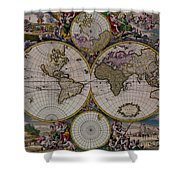 Antique Map Exotic Colorful Shower Curtain