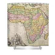 Antique Map Of Africa Shower Curtain by Pieter Schenk